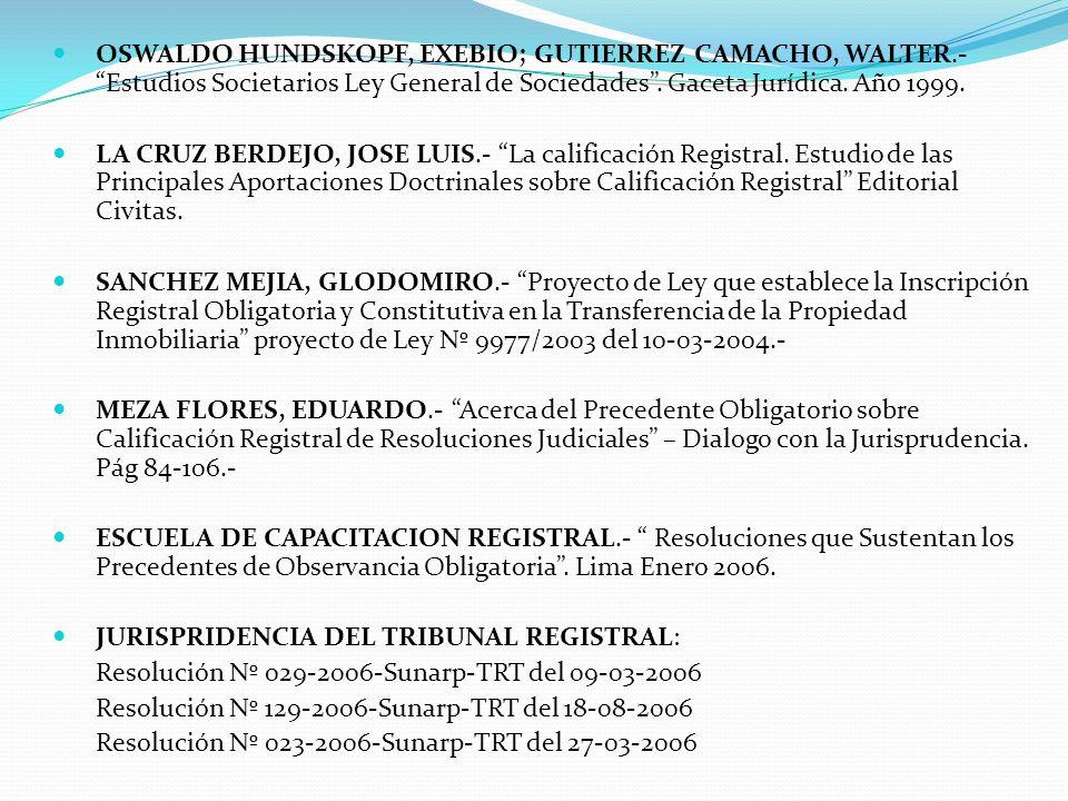 BIBLIOGRAFIA GONZALES LOLI, JORGE LUIS.- Comentarios al Nuevo Reglamento General de los Registros Públicos.- Gaceta Jurídica.