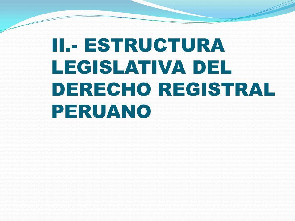 SISTEMA REGISTRAL PERUANO (3) En nuestro ordenamiento civil encontramos una amplia variedad de situaciones: Hipoteca (constitutiva), Transferencia de propiedad (declarativa), Arrendamiento (declarativa), Persona Jurídica (constitutiva), Patrimonio Familiar (constitutiva).