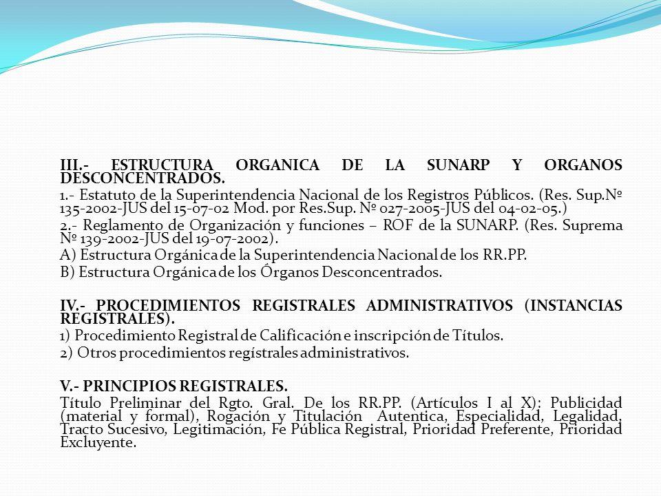INDICE I.- DERECHO REGISTRAL.1.- Denominación, Concepto, caracteres.