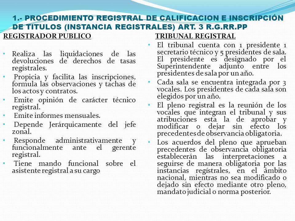 1.- PROCEDIMIENTO REGISTRAL DE CALIFICACION E INSCRIPCIÓN DE TITULOS (INSTANCIA REGISTRALES) ART. 3 R.G.RR.PP. PRIMERA INSTANCIA: REGISTRADOR PUBLICO