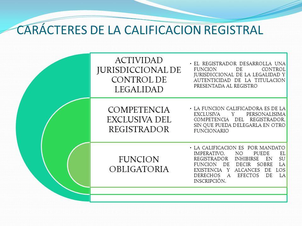 PRINCIPIO DE LEGALIDAD (IV) ALCANCES DE LA CALIFICACION REGISTRAL: 1.