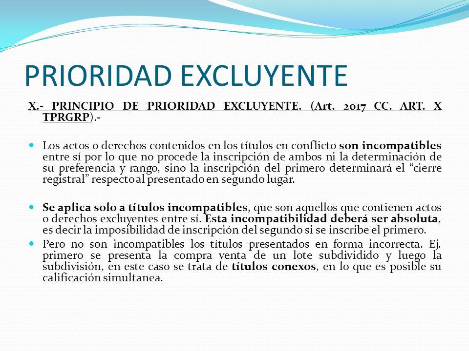PRIORIDAD PREFERENTE IX.- PRINCIPIO DE PRIORIDAD PREFERENTE Art. 2016 CC. Art. IX TPRGRP).- Este principio reconoce la prioridad de rango respecto de