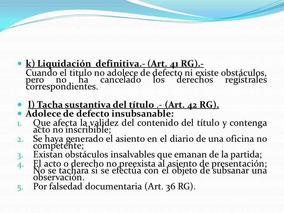 i) Plazos para la calificación y reingreso de títulos.- (Art.