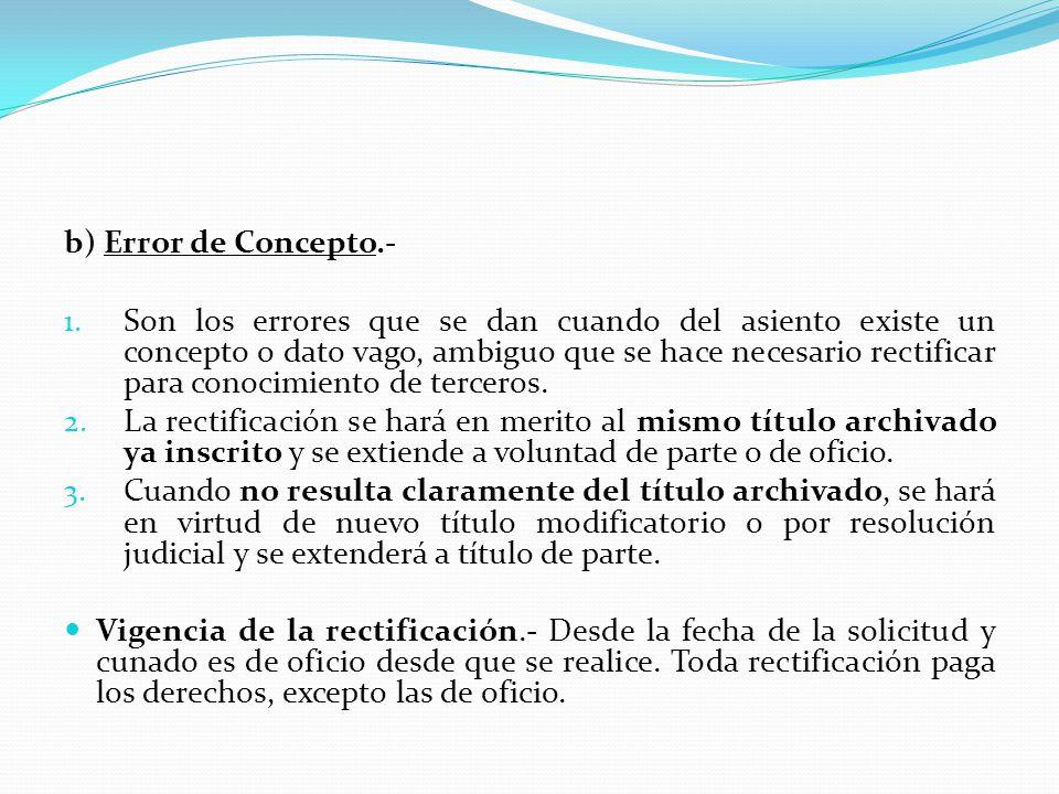 2.- INEXACTITUD REGISTRAL Y SU RECTIFICACION (Art. 75 RG) A) DEFINICION.- Es todo desacuerdo existente entre lo registrado y la realidad extrarregistr