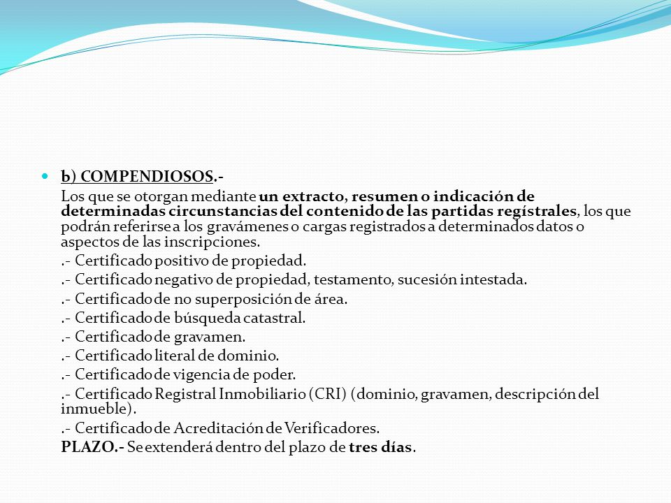 1.- PUBLICIDAD DE LOS REGISTROS (Art.