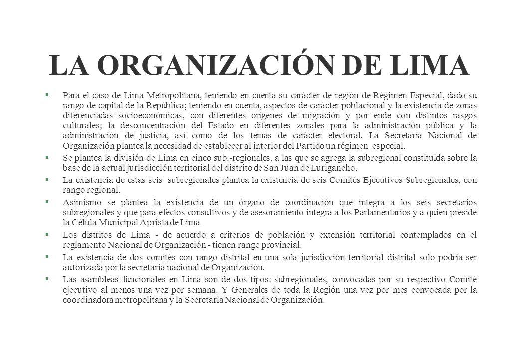 Partido Aprista Peruano Secretaria Nacional de Organización Nueva Estructura Funcional de las Secretarias Distritales Sec. General Distrital Sub Secre