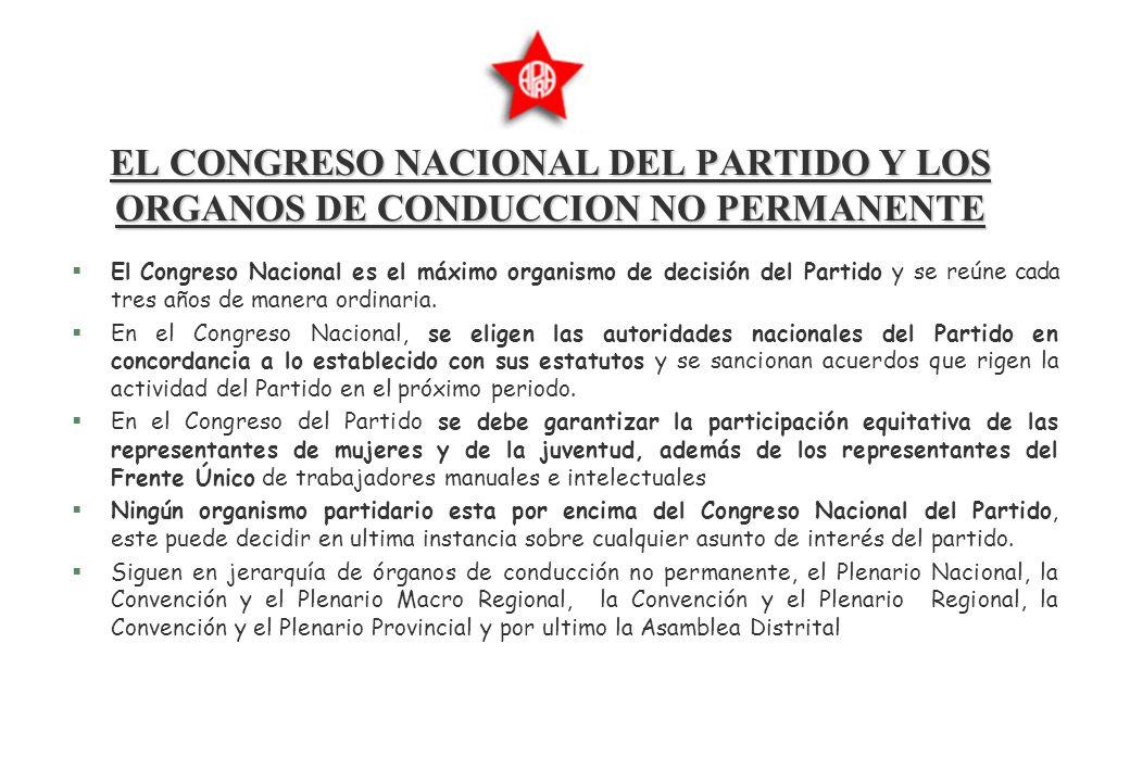 EL CONGRESO NACIONAL DEL PARTIDO Y LOS ORGANOS DE CONDUCCION NO PERMANENTE §El Congreso Nacional es el máximo organismo de decisión del Partido y se reúne cada tres años de manera ordinaria.