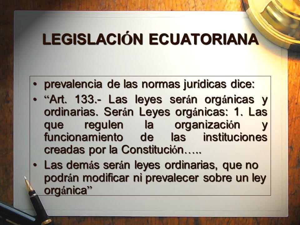 LEGISLACI Ó N ECUATORIANA prevalencia de las normas jur í dicas dice:prevalencia de las normas jur í dicas dice: Art. 133.- Las leyes ser á n org á ni