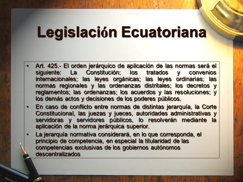 Legislaci ó n Ecuatoriana Art. 425.- El orden jerárquico de aplicación de las normas será el siguiente: La Constitución; los tratados y convenios inte