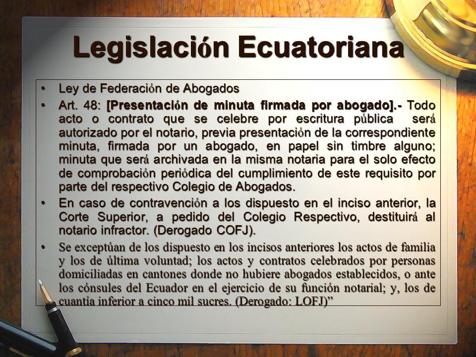 Legislaci ó n Ecuatoriana Constituci ó n de la Rep ú blicaConstituci ó n de la Rep ú blica Art.199Art.199 200, dice: Las notarias y notarios son depositarios de la fe p ú blica.