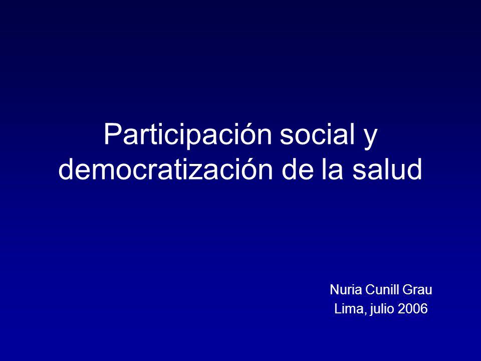 Tesis N° 1 La participación ciudadana puede hacer parte de dos tipos de estrategias en relación con la salud: Redimensionamiento del Estado ---- Economía de Costos Democratización de la Gestión Pública: Coproducción (en la gestión) Representación Social (en las políticas y en el control) + Influencia Indirecta (crítica y control)