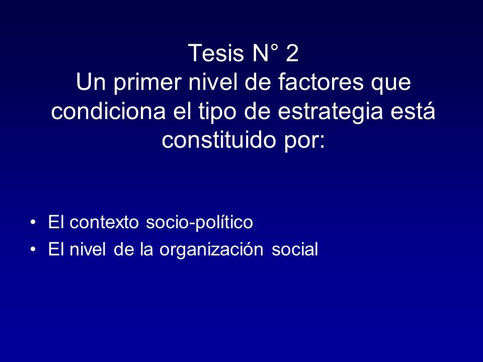 Tesis N° 2 Un primer nivel de factores que condiciona el tipo de estrategia está constituido por: El contexto socio-político El nivel de la organización social