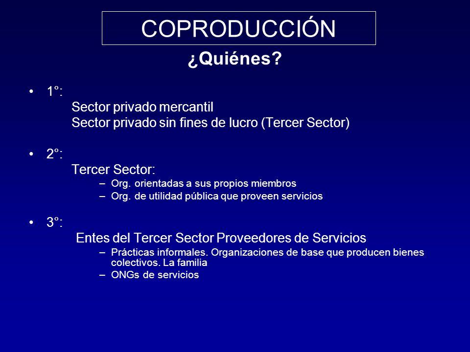 ¿Quiénes? 1°: Sector privado mercantil Sector privado sin fines de lucro (Tercer Sector) 2°: Tercer Sector: –Org. orientadas a sus propios miembros –O