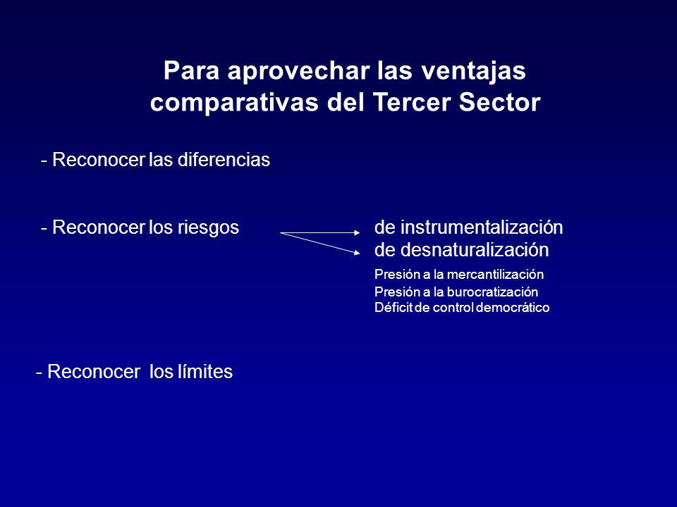 Para aprovechar las ventajas comparativas del Tercer Sector - Reconocer las diferencias - Reconocer los riesgosde instrumentalización de desnaturaliza