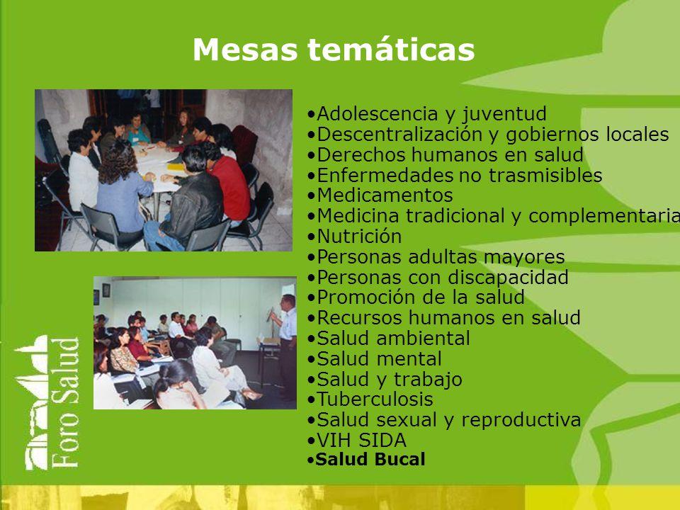 Adolescencia y juventud Descentralización y gobiernos locales Derechos humanos en salud Enfermedades no trasmisibles Medicamentos Medicina tradicional y complementaria Nutrición Personas adultas mayores Personas con discapacidad Promoción de la salud Recursos humanos en salud Salud ambiental Salud mental Salud y trabajo Tuberculosis Salud sexual y reproductiva VIH SIDA Salud Bucal Mesas temáticas