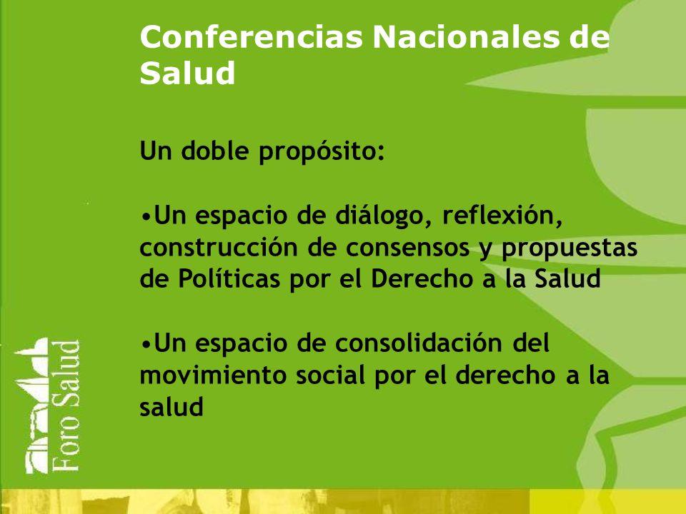Conferencias Nacionales de Salud Un doble propósito: Un espacio de diálogo, reflexión, construcción de consensos y propuestas de Políticas por el Derecho a la Salud Un espacio de consolidación del movimiento social por el derecho a la salud