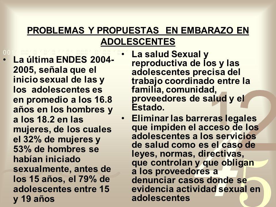 PROBLEMAS Y PROPUESTAS EN EMBARAZO EN ADOLESCENTES La última ENDES 2004- 2005, señala que el inicio sexual de las y los adolescentes es en promedio a los 16.8 años en los hombres y a los 18.2 en las mujeres, de los cuales el 32% de mujeres y 53% de hombres se habían iniciado sexualmente, antes de los 15 años, el 79% de adolescentes entre 15 y 19 años La salud Sexual y reproductiva de los y las adolescentes precisa del trabajo coordinado entre la familia, comunidad, proveedores de salud y el Estado.