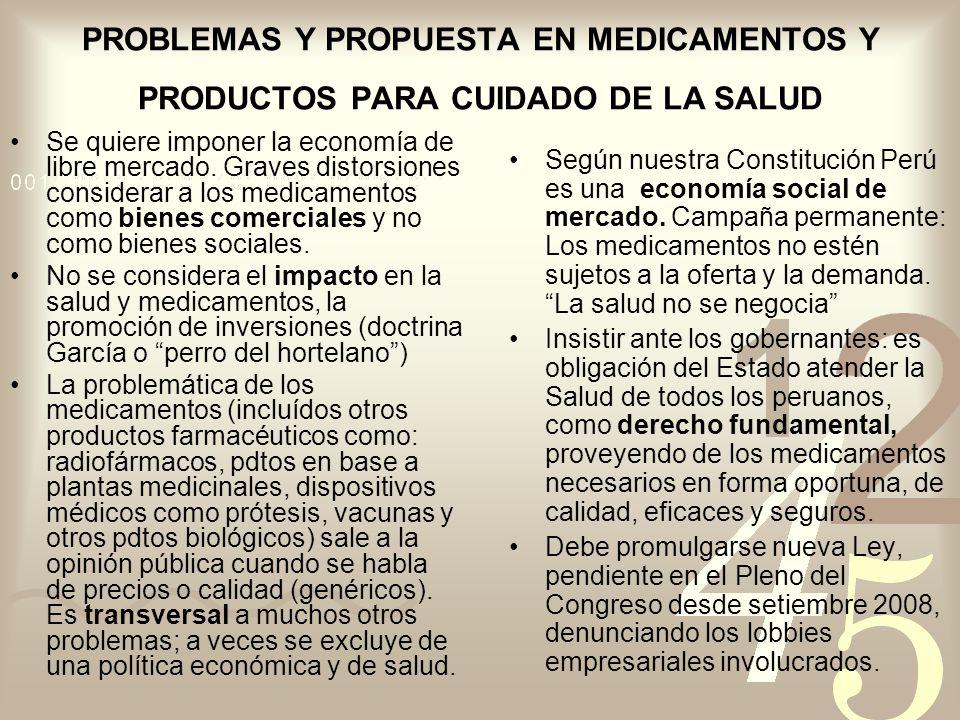 PROBLEMAS Y PROPUESTA EN MEDICAMENTOS Y PRODUCTOS PARA CUIDADO DE LA SALUD Se quiere imponer la economía de libre mercado. Graves distorsiones conside