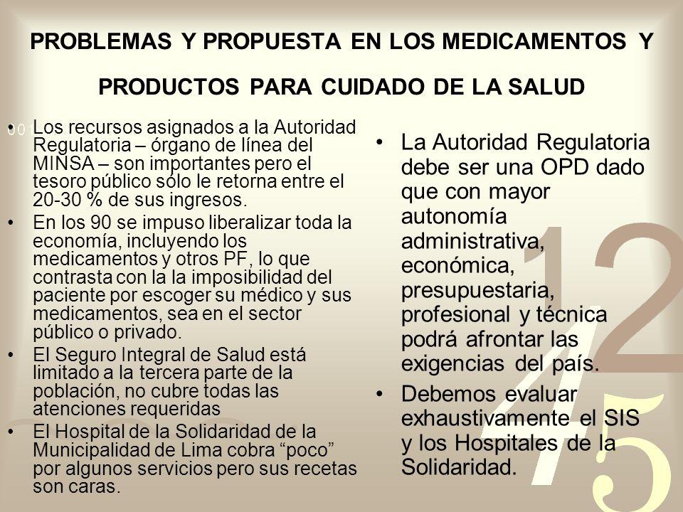 PROBLEMAS Y PROPUESTA EN LOS MEDICAMENTOS Y PRODUCTOS PARA CUIDADO DE LA SALUD Los recursos asignados a la Autoridad Regulatoria – órgano de línea del