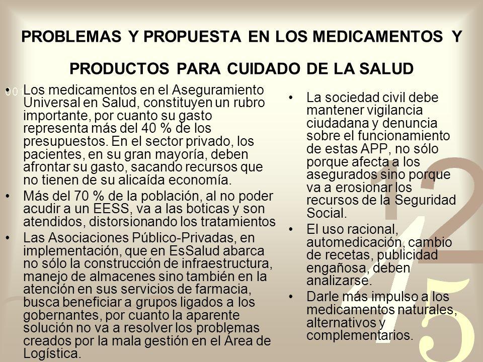 PROBLEMAS Y PROPUESTA EN LOS MEDICAMENTOS Y PRODUCTOS PARA CUIDADO DE LA SALUD Los medicamentos en el Aseguramiento Universal en Salud, constituyen un