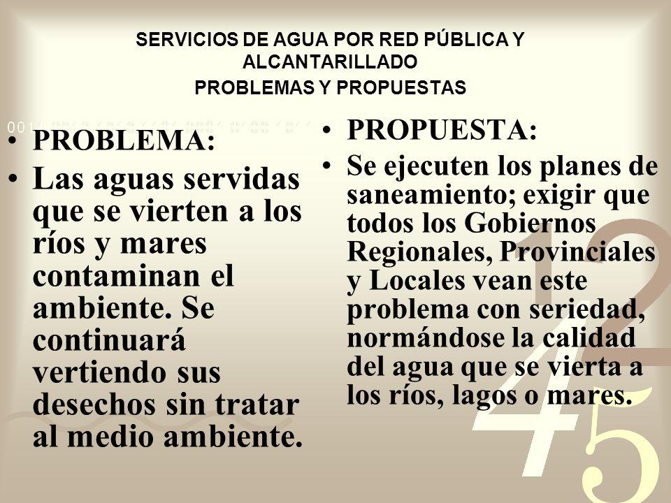 SERVICIOS DE AGUA POR RED PÚBLICA Y ALCANTARILLADO PROBLEMAS Y PROPUESTAS PROBLEMA: Las aguas servidas que se vierten a los ríos y mares contaminan el ambiente.