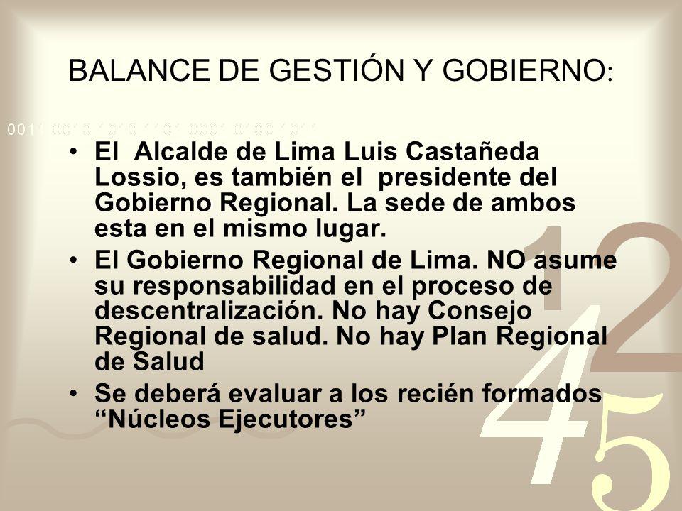 BALANCE DE GESTIÓN Y GOBIERNO : El Alcalde de Lima Luis Castañeda Lossio, es también el presidente del Gobierno Regional. La sede de ambos esta en el