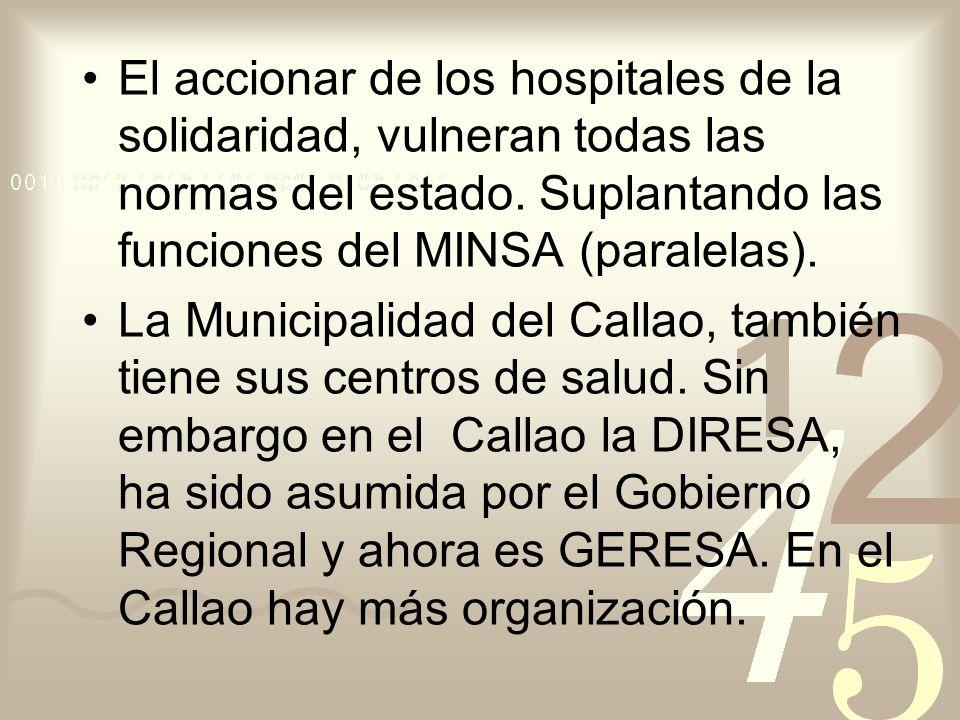 El accionar de los hospitales de la solidaridad, vulneran todas las normas del estado. Suplantando las funciones del MINSA (paralelas). La Municipalid