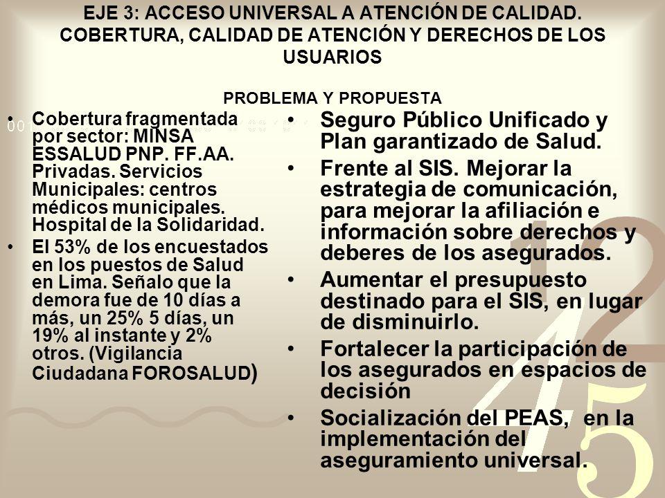 EJE 3: ACCESO UNIVERSAL A ATENCIÓN DE CALIDAD. COBERTURA, CALIDAD DE ATENCIÓN Y DERECHOS DE LOS USUARIOS PROBLEMA Y PROPUESTA Cobertura fragmentada po