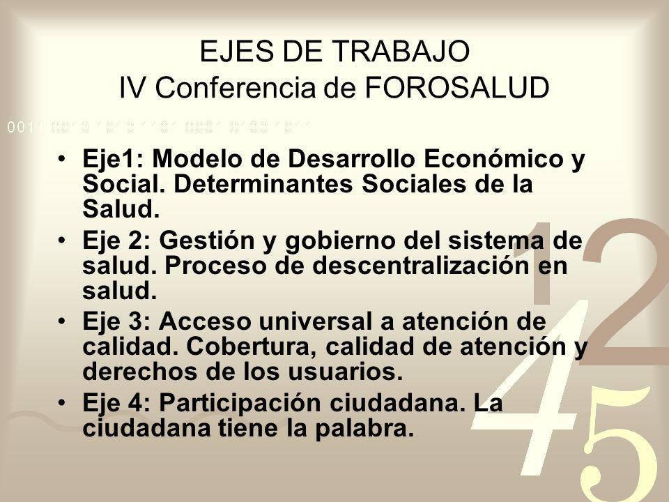 EJES DE TRABAJO IV Conferencia de FOROSALUD Eje1: Modelo de Desarrollo Económico y Social. Determinantes Sociales de la Salud. Eje 2: Gestión y gobier