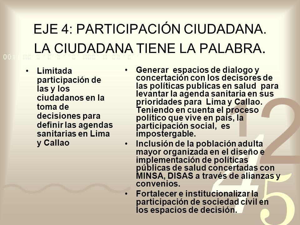 EJE 4: PARTICIPACIÓN CIUDADANA. LA CIUDADANA TIENE LA PALABRA. Limitada participación de las y los ciudadanos en la toma de decisiones para definir la