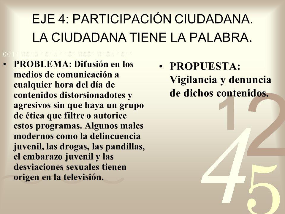 EJE 4: PARTICIPACIÓN CIUDADANA. LA CIUDADANA TIENE LA PALABRA. PROBLEMA: Difusión en los medios de comunicación a cualquier hora del día de contenidos