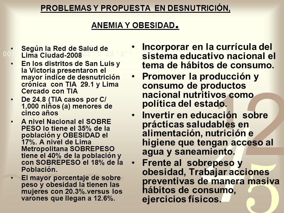 PROBLEMAS Y PROPUESTA EN DESNUTRICIÓN, ANEMIA Y OBESIDAD. Según la Red de Salud de Lima Ciudad-2008 En los distritos de San Luis y la Victoria present
