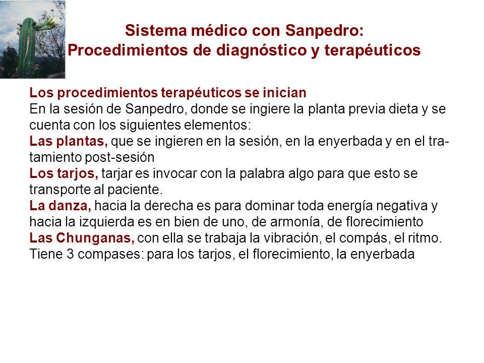Los procedimientos terapéuticos se inician En la sesión de Sanpedro, donde se ingiere la planta previa dieta y se cuenta con los siguientes elementos: