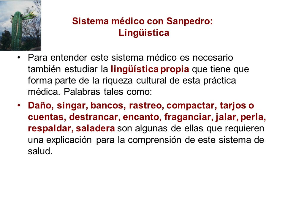 Sistema médico con Sanpedro: Língüistica Para entender este sistema médico es necesario también estudiar la lingüística propia que tiene que forma parte de la riqueza cultural de esta práctica médica.