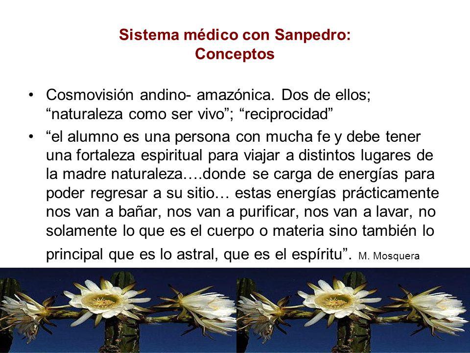 Sistema médico con Sanpedro: Conceptos Cosmovisión andino- amazónica. Dos de ellos; naturaleza como ser vivo; reciprocidad el alumno es una persona co