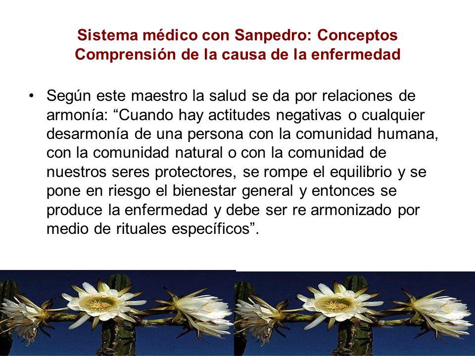 Sistema médico con Sanpedro: Conceptos Comprensión de la causa de la enfermedad Según este maestro la salud se da por relaciones de armonía: Cuando ha