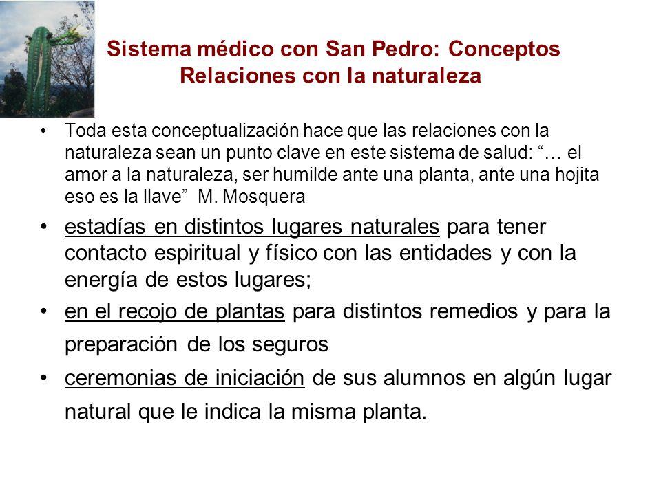 Sistema médico con San Pedro: Conceptos Relaciones con la naturaleza Toda esta conceptualización hace que las relaciones con la naturaleza sean un pun