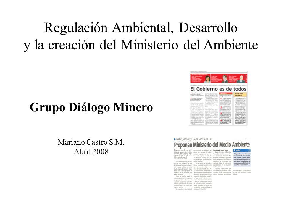 Grupo Diálogo Minero Mariano Castro S.M. Abril 2008 Regulación Ambiental, Desarrollo y la creación del Ministerio del Ambiente