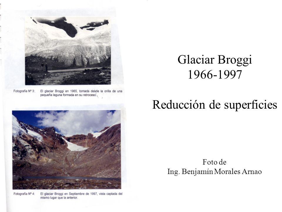 Glaciar Broggi 1966-1997 Reducción de superficies Foto de Ing. Benjamín Morales Arnao