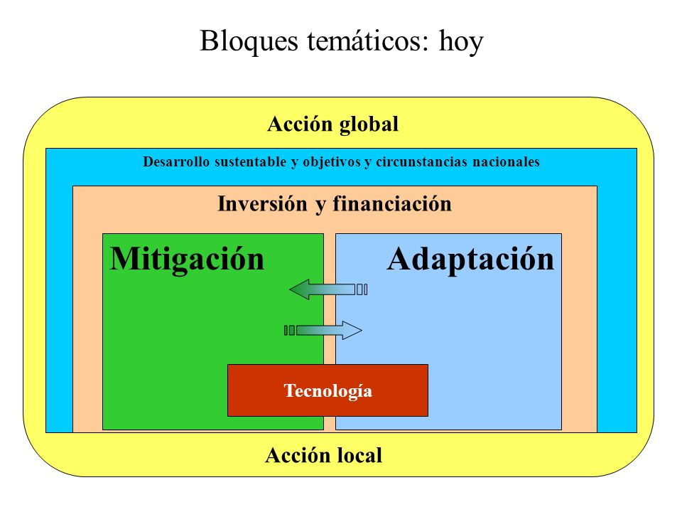 Desarrollo sustentable y objetivos y circunstancias nacionales Inversión y financiación MitigaciónAdaptación Tecnología Bloques temáticos: hoy Acción local Acción global