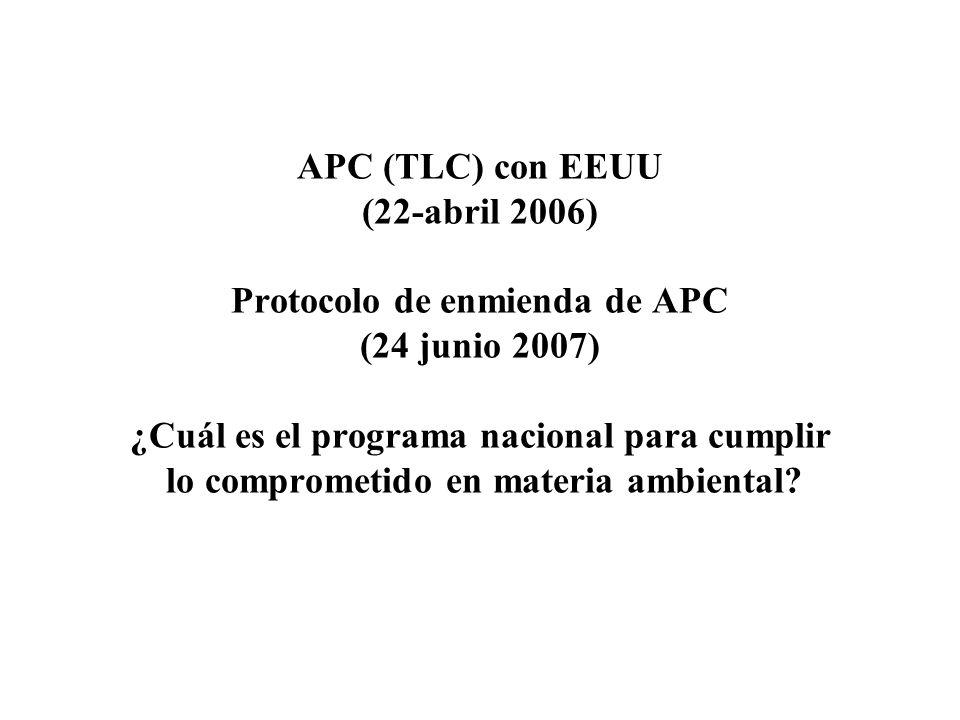 APC (TLC) con EEUU (22-abril 2006) Protocolo de enmienda de APC (24 junio 2007) ¿Cuál es el programa nacional para cumplir lo comprometido en materia ambiental?