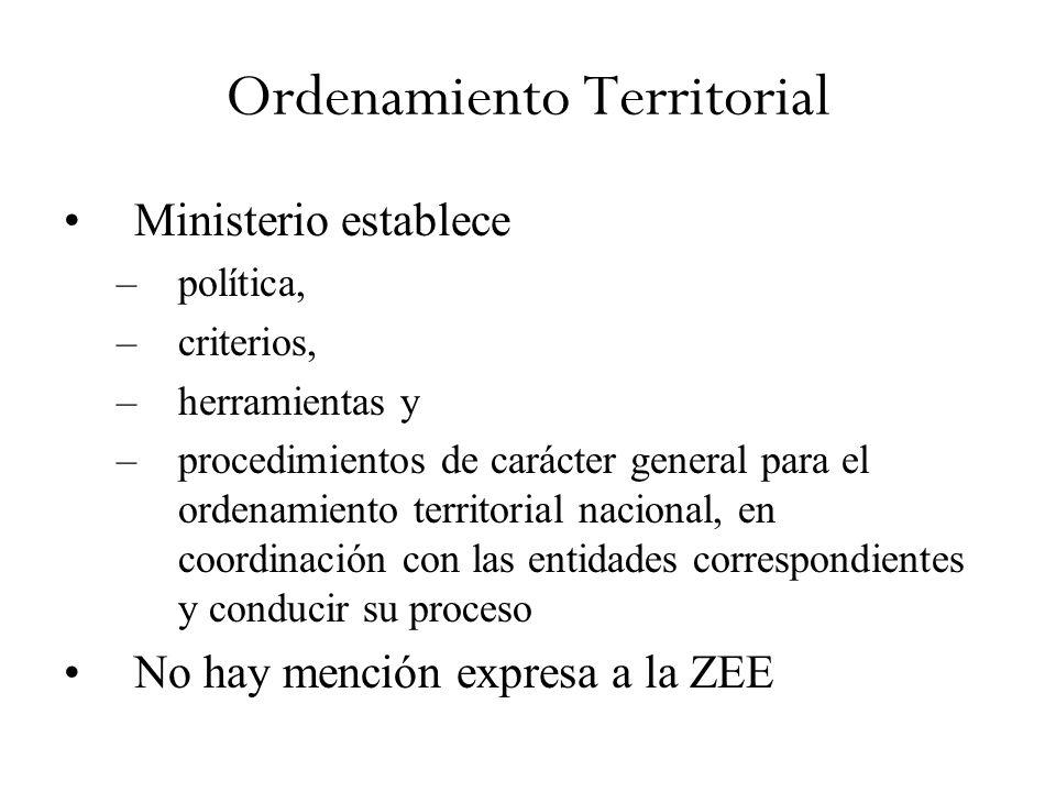 Ordenamiento Territorial Ministerio establece –política, –criterios, –herramientas y –procedimientos de carácter general para el ordenamiento territorial nacional, en coordinación con las entidades correspondientes y conducir su proceso No hay mención expresa a la ZEE