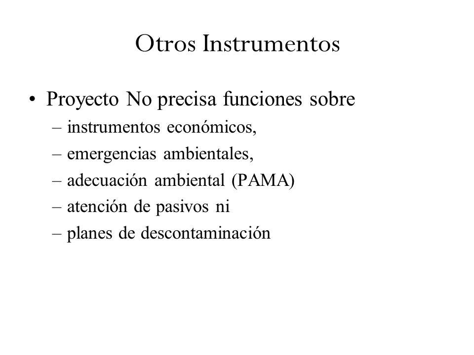 Otros Instrumentos Proyecto No precisa funciones sobre –instrumentos económicos, –emergencias ambientales, –adecuación ambiental (PAMA) –atención de pasivos ni –planes de descontaminación