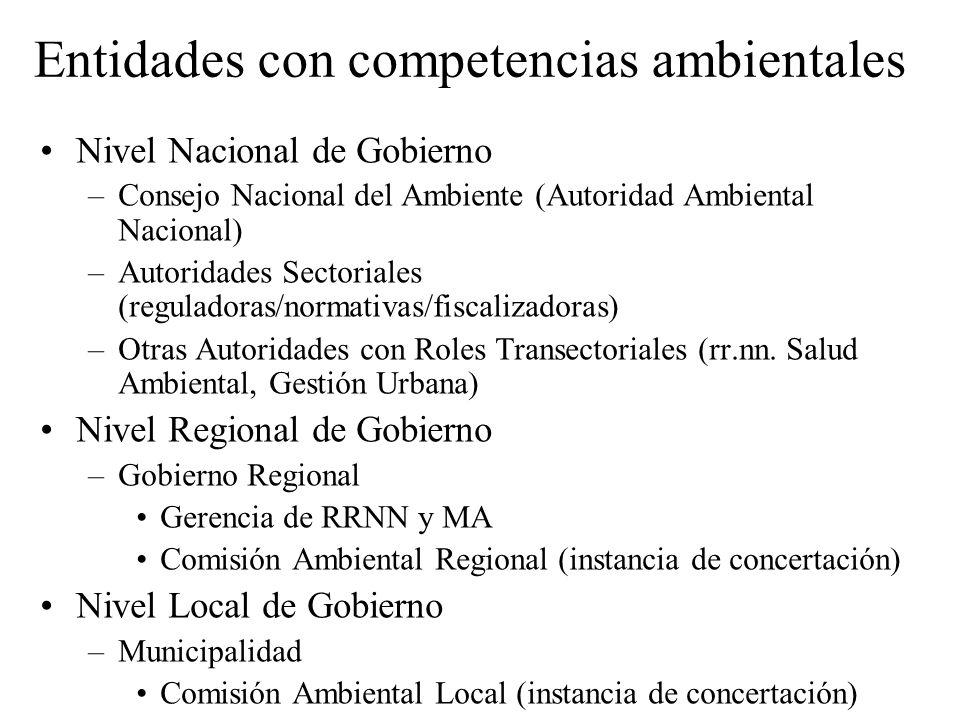 Entidades con competencias ambientales Nivel Nacional de Gobierno –Consejo Nacional del Ambiente (Autoridad Ambiental Nacional) –Autoridades Sectorial