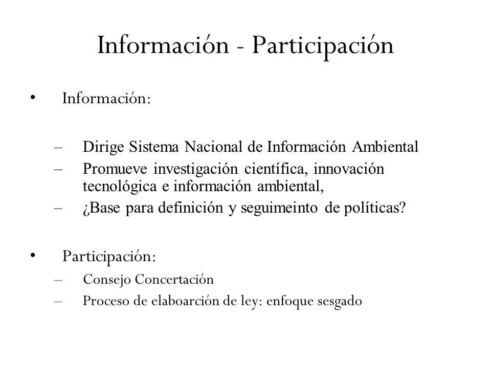 Información - Participación Información: –Dirige Sistema Nacional de Información Ambiental –Promueve investigación científica, innovación tecnológica e información ambiental, –¿Base para definición y seguimeinto de políticas.