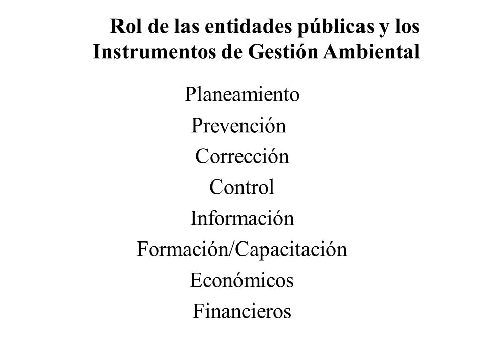 Planeamiento Prevención Corrección Control Información Formación/Capacitación Económicos Financieros Rol de las entidades públicas y los Instrumentos de Gestión Ambiental