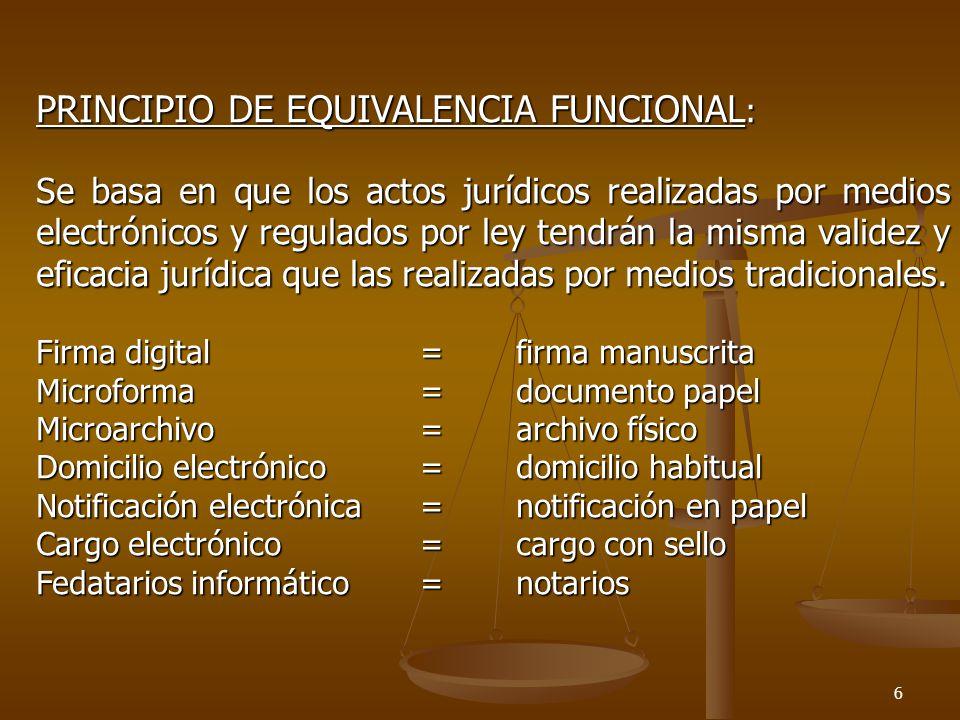 7 PRINCIPIO DE NEUTRALIDAD TECNOLÓGICA: Nos referimos a que se podrá emplear todas aquellas tecnologías que cumplan con los requisitos y resultados que las leyes exigen; respetando los niveles y/o stándares de seguridad en el campo jurídico-informático que sean aceptados internacionalmente (NTI) y/o nacionalmente (NTP) Para que el documento electrónico sirva de prueba informática deberá las nuevas tecnologías garantizar: -Autenticidad-Integridad-Formalidad-Durabilidad-Legibilidad-Disponibilidad-Fijeza