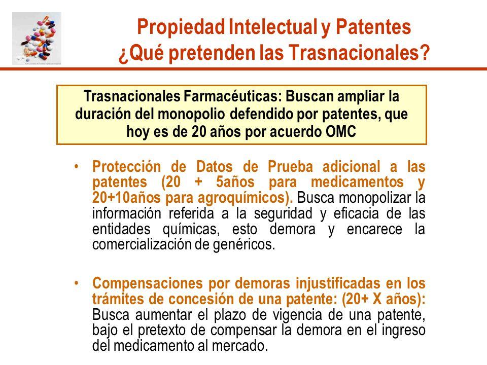 Propiedad Intelectual y Patentes ¿Qué pretenden las Trasnacionales? Trasnacionales Farmacéuticas: Buscan ampliar la duración del monopolio defendido p