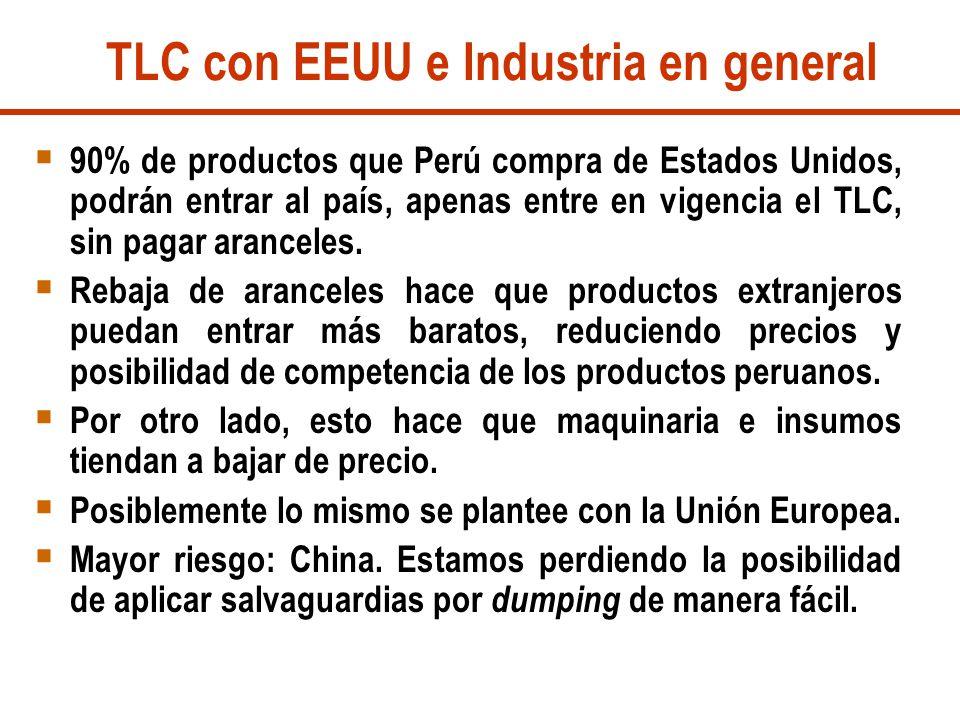 TLC con EEUU e Industria en general 90% de productos que Perú compra de Estados Unidos, podrán entrar al país, apenas entre en vigencia el TLC, sin pa