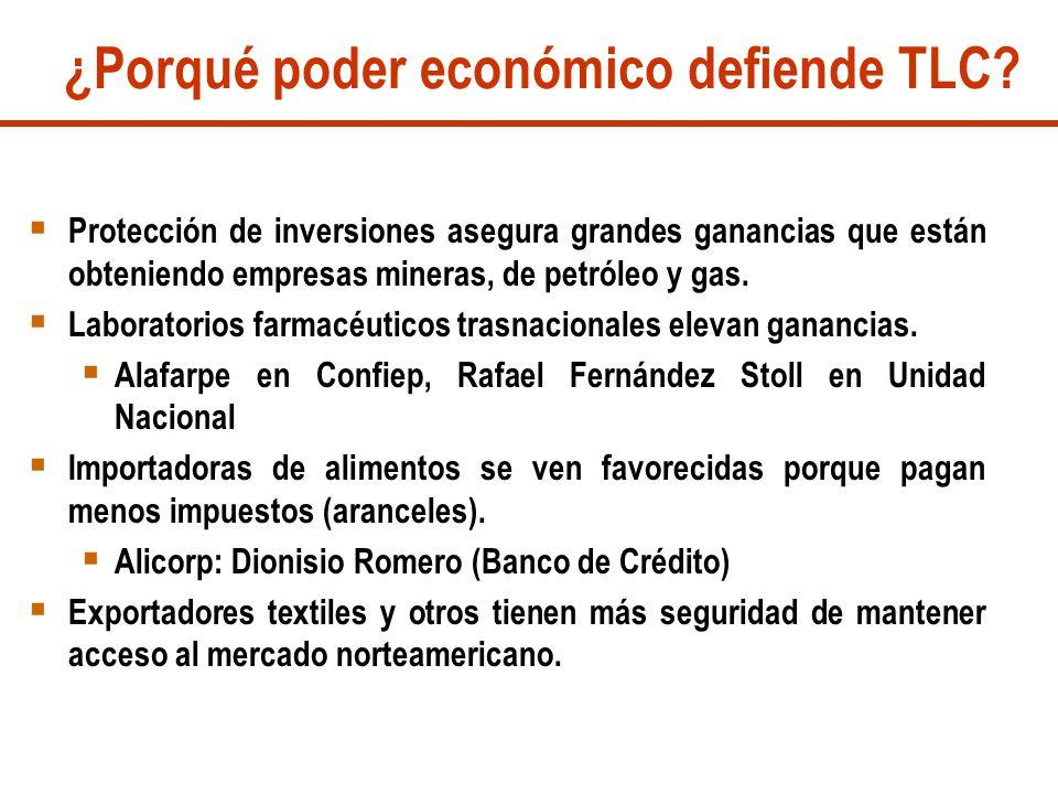 ¿Porqué poder económico defiende TLC? Protección de inversiones asegura grandes ganancias que están obteniendo empresas mineras, de petróleo y gas. La